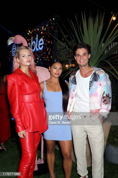 Lottie Moss Vanessa White and Jack Brett Anderson attend Bumble's Summer Singles Pool Party at Shoreditch House on August 28 2019 in London England