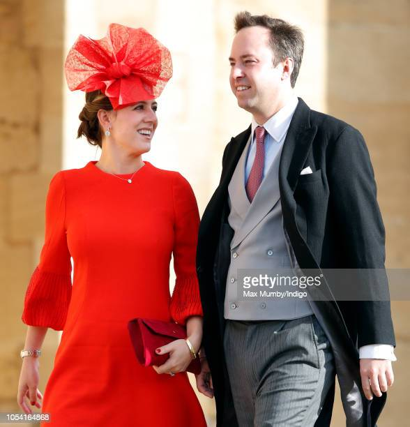 Lottie Murray Wells and James Murray Wells attend the wedding of Princess Eugenie of York and Jack Brooksbank at St George's Chapel on October 12...