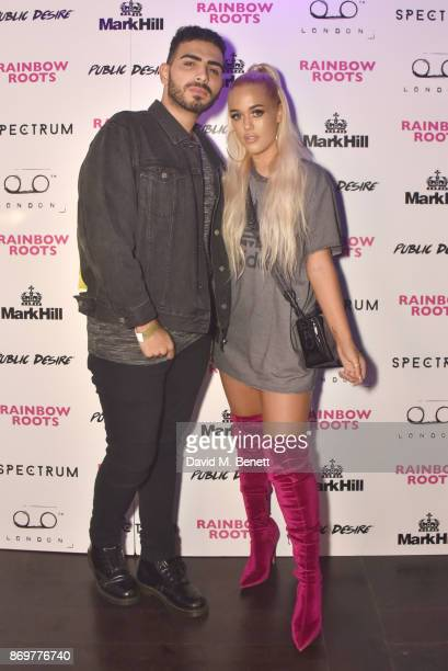 Lottie Tomlinson and guest arrive at Lottie Tomlinson's 'Rainbow Roots' book launch at Tape London on November 2 2017 in London England