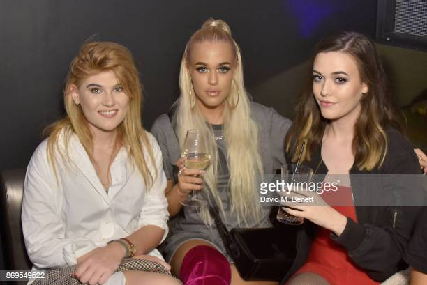 Lottie Tomlinson and guests arrive at Lottie Tomlinson's 'Rainbow Roots' book launch at Tape London on November 2 2017 in London England