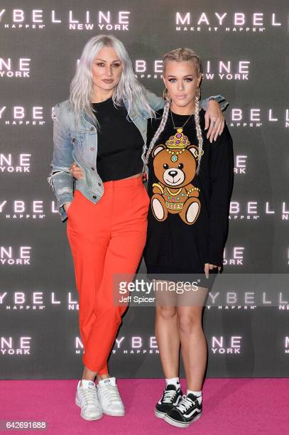 Lottie Tomlinson and Lou Teasdale attend Maybelline's Bring On The Night Party on February 18 2017 in London United Kingdom