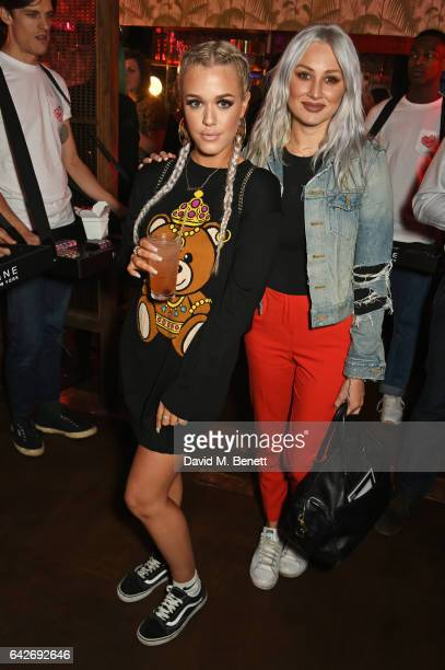 Lottie Tomlinson and Lou Teasdale attend Maybelline's Bring On The Night London Fashion Week party at The Scotch of St James on February 18 2017 in...