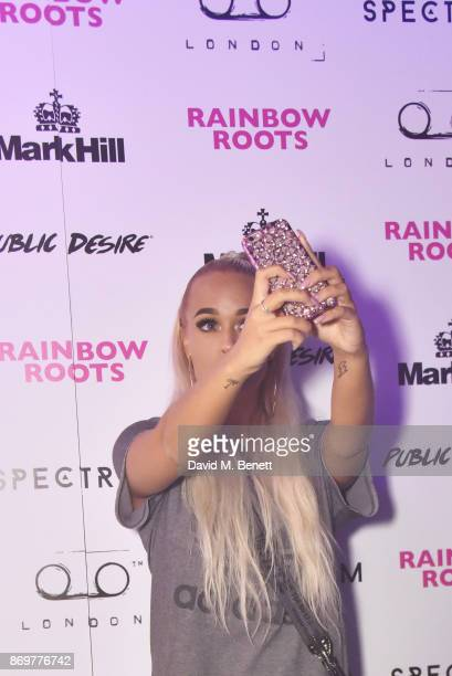 Lottie Tomlinson arrives at Lottie Tomlinson's 'Rainbow Roots' book launch at Tape London on November 2 2017 in London England