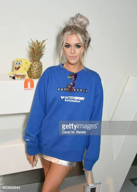 Lottie Tomlinson attends Nickelodeon's SpongeBob Gold launch party at LFW in collaboration with the LFW Design collective Pete Jenson Bobby Abley...