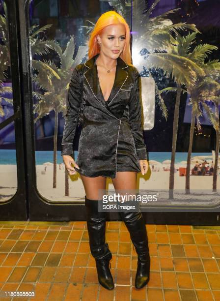 Lottie Tomlinson attends the launch party for Gabby Allen's new collaboration with SportFX at the Tropicana Beach Club in London