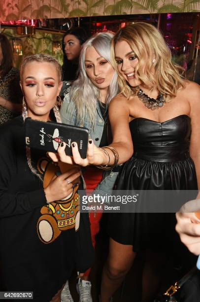Lottie Tomlinson Lou Teasdale and Tallia Storm attend Maybelline's Bring On The Night London Fashion Week party at The Scotch of St James on February...