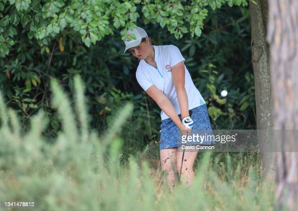 Lottie Woad of England plays her second shot on the 18th hole during the Rose Ladies Series at North Hants Golf Club on September 20, 2021 in Fleet,...