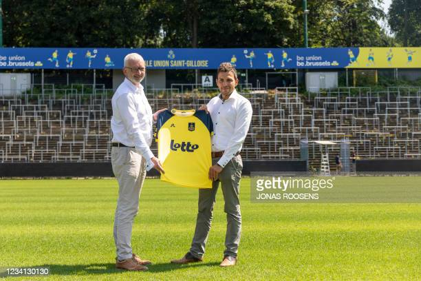 Lotto COO Olivier Alsteens and Union's CEO Philippe Bormans pictured at a press conference of Belgian first division team Royal Union Saint-Gilloise...