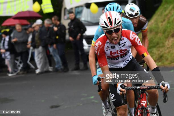 Lotto Soudal rider Belgium's Bjorg Lambrecht leads a breakaway during the first stage of the 71st edition of the Criterium du Dauphine cycling race...