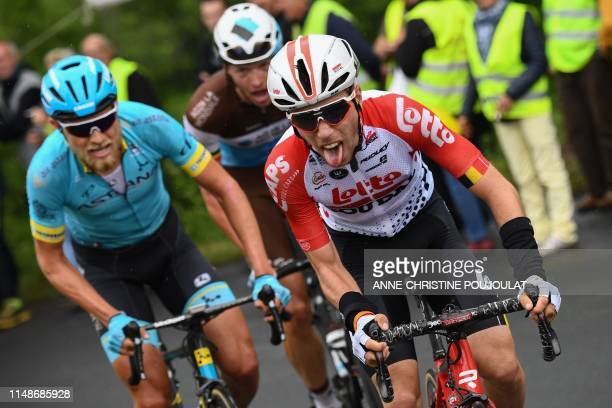 Lotto Soudal rider Belgium's Bjorg Lambrecht leads a breakaway with AG2R La Mondiale rider Belgium's Oliver Naesen and Astana Pro Team rider...