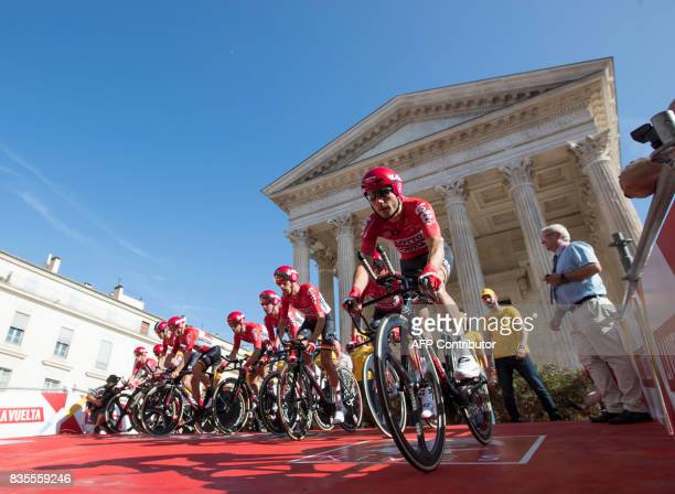 Lotto Soudal team competes during the first stage of the 72nd edition of La Vuelta Tour of Spain cycling race in Nimes on August 19 2017 / AFP PHOTO...