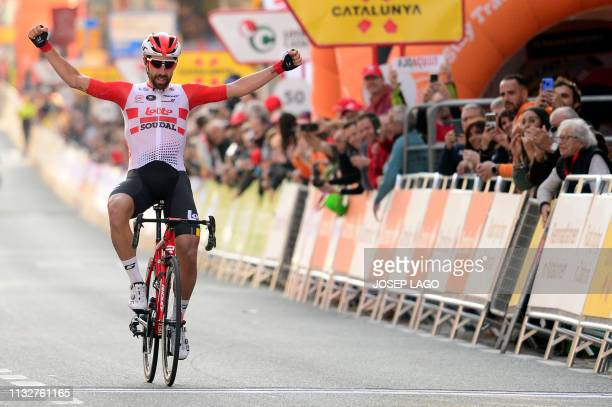 Lotto Soudal's Belgian rider Thomas De Gendt crosses the finish line winning the first stage of the 99th Volta Catalunya 2019 a 164 km ride starting...
