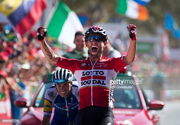 TOPSHOT Lotto Soudal's Polish cyclist Tomasz Marczynski celebrates as he crosses the finish line to win the 6th stage of the 72nd edition of 'La...
