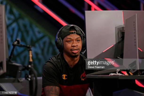 Lotty of Heat Check Gaming smiles during a game against Cavs Legion Gaming Club during Week 5 of the NBA 2K League regular season on May 15 2019 at...