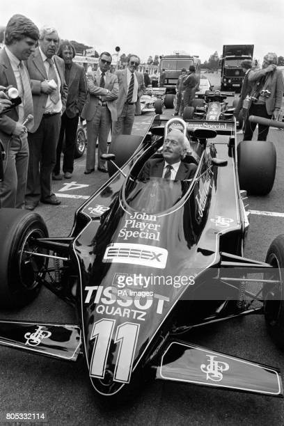 Lotus boss Colin Chapman at the launch of the new Lotus 87 at Brands Hatch He can be seen sitting in the innovative '88' car which was banned due to...
