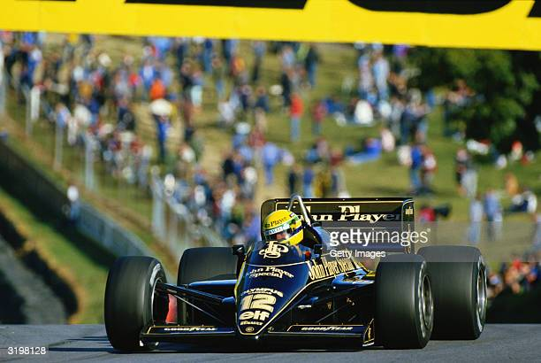 Lotus driver Ayrton Senna of Brazil in action during the F1 European Grand Prix held on October 6, 1985 at the Brands Hatch circuit in Fawkham,...