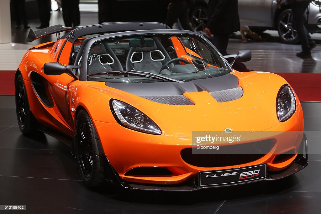 A Lotus Elise 250 cup automobile, produced by Group Lotus Plc, a luxury unit of Proton Holdings Bhd., sits on display on the first day of the 86th Geneva International Motor Show in Geneva, Switzerland, on Tuesday, March 1, 2016. The show opens to the public on March 3, and will showcase the latest models from the world's top automakers. Photographer: Chris Ratcliffe/Bloomberg via Getty Images