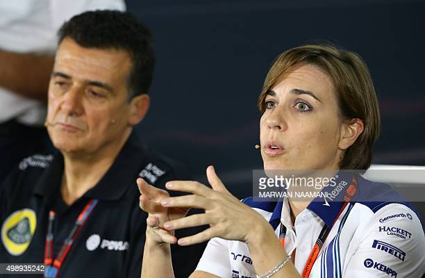 Lotus F1 deputy principle Federico Gastaldi and Williams Martini Racing's deputy team chief Clare Williams sit during a press conference at the Yas...