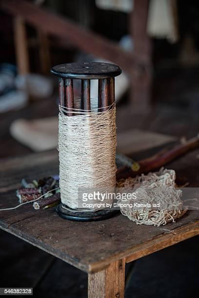 Lotus flower fibre threads for weaving silk from Inle lake, Myanmar