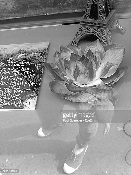 Lotus Flower With Replica Of Eiffel Tower On Glass Table