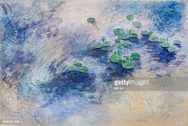 lotus, lotus leaf floating on the water painting - koi painting stock photos and pictures
