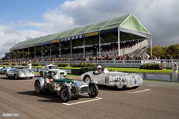 Lotus Mk 6 1950 Jaguar XK 120 driven by John Young on the start line for the Fordwater Trophy race