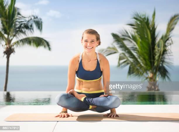 Lotus Pose (Padmasana), Lift in the Air, Candid smile