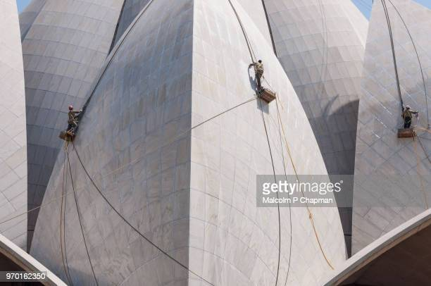 Lotus Temple, Bahai House of Worship, being cleaned, New Delhi, India