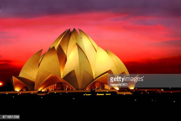 lotus temple in new delhi, india - delhi stock pictures, royalty-free photos & images