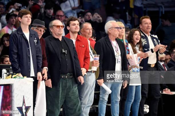 Lou Adler and Jack Nicholson and Arnold Schwarzenegger attend the 67th NBA AllStar Game Team LeBron Vs Team Stephen at Staples Center on February 18...
