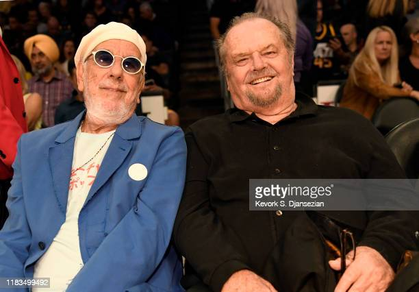 Lou Adler and Jack Nicholson attend a basketball game between the Los Angeles Lakers and the Utah Jazz at the at Staples Center on October 25, 2019...