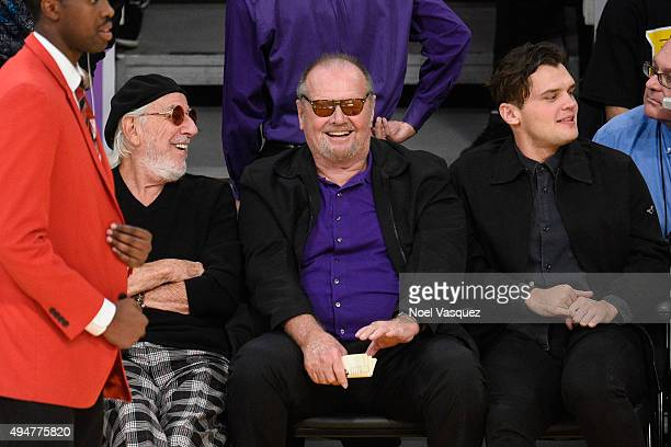 Lou Adler Jack Nicholson and Ray Nicholson attend a basketball game between the Minnesota Timberwolves and the Los Angeles Lakers at Staples Center...