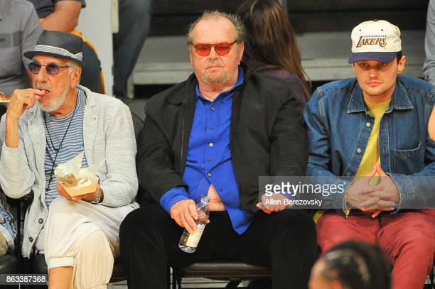 Lou Adler Jack Nicholson and Ray Nicholson attend a basketball game between the Los Angeles Lakers and the Los Angeles Clippers at Staples Center on...