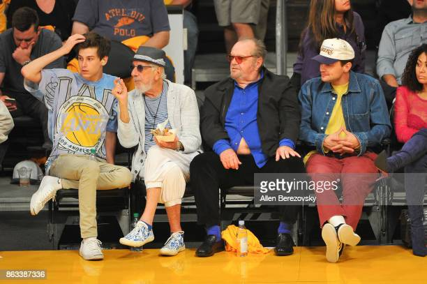 Lou Adler Jack Nicholson and son Ray Nicholson attend a basketball game between the Los Angeles Lakers and the Los Angeles Clippers at Staples Center...