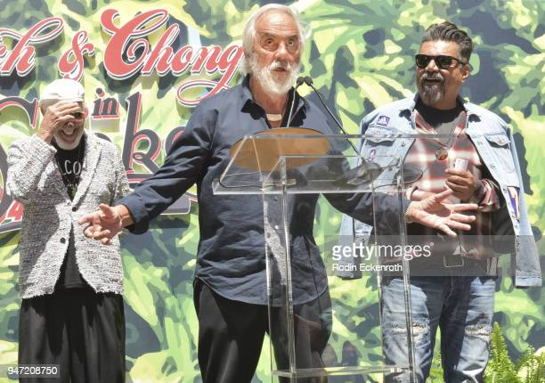 Lou Adler Tommy Chong and George Lopez speak onstage at the Key to The City of West Hollywood Award Ceremony at The Roxy Theatre on April 16 2018 in...