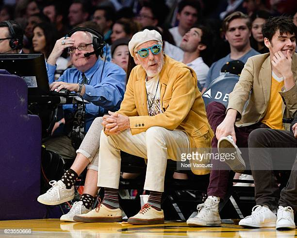 Lou Adler wearing Snapchat's Spectacles attends a basketball game between the Brooklyn Nets and the Los Angeles Lakers at Staples Center on November...