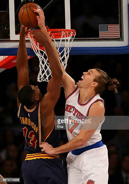 Lou Amundson of the New York Knicks blocks a shot by Tristan Thompson of the Cleveland Cavaliers at Madison Square Garden on November 13 2015 in New...