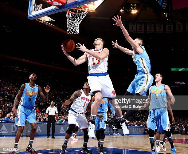 Lou Amundson of the New York Knicks goes to the basket during the game against the Denver Nuggets on February 7 2016 at Madison Square Garden in New...