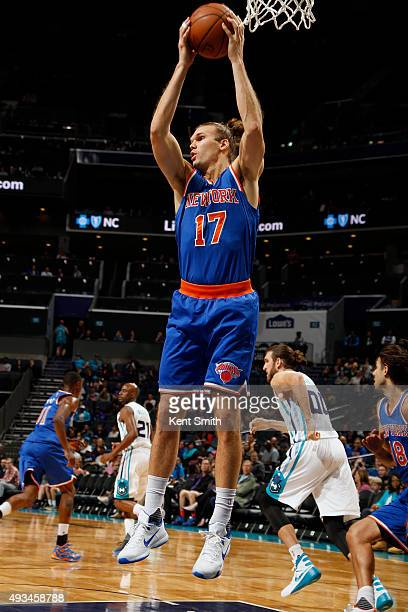 Lou Amundson of the New York Knicks grabs a rebound against the Charlotte Hornets during a preseason game at the Time Warner Cable Arena on October...