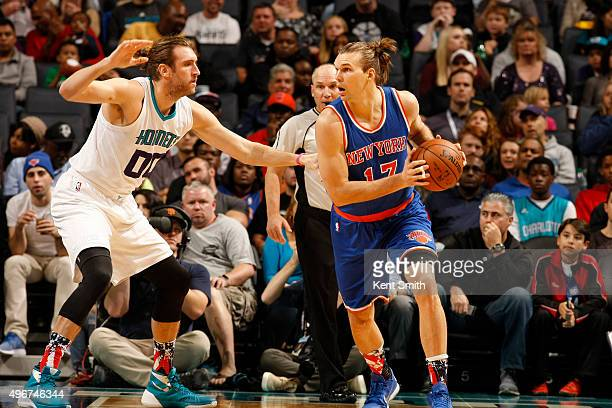 Lou Amundson of the New York Knicks handles the ball against Spencer Hawes of the Charlotte Hornets on November 11 2015 at Time Warner Cable Arena in...