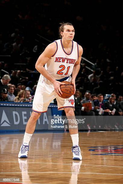 Lou Amundson of the New York Knicks handles the ball against the Minnesota Timberwolves on March 19 2015 at Madison Square Garden in New York City...