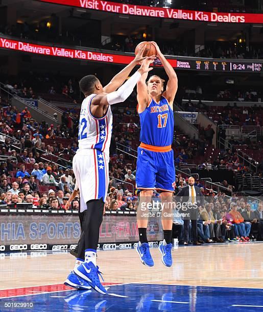 Lou Amundson of the New York Knicks shoots the ball against the Philadelphia 76ers at Wells Fargo Center on December 18 2015 in Philadelphia...