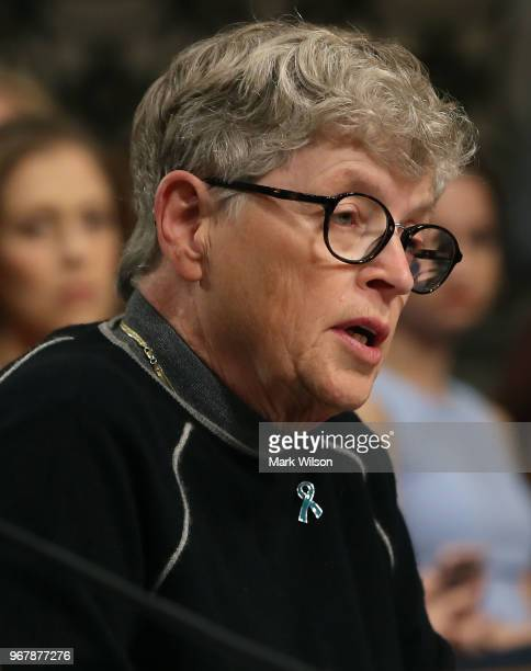 Lou Anna Simon former president of Michigan State University testifies during a Senate Commerce Science and Transportation Committee hearing on June...
