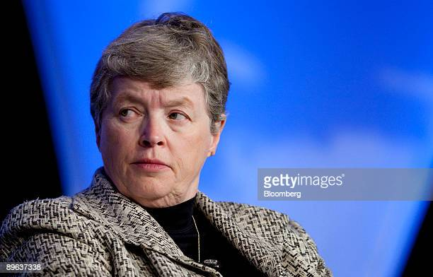 Lou Anna Simon president of Michigan State University listens at a session on talent management during the National Summit in Detroit Michigan US on...