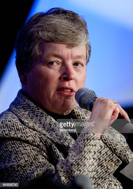 Lou Anna Simon president of Michigan State University speaks at a session on talent management during the National Summit in Detroit Michigan US on...
