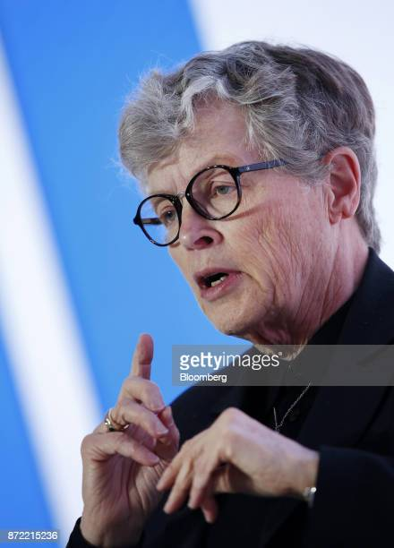 Lou Anna Simon president of Michigan State University speaks during the Michigan CEO Summit in Detroit Michigan US on Thursday Nov 9 2017 More than...