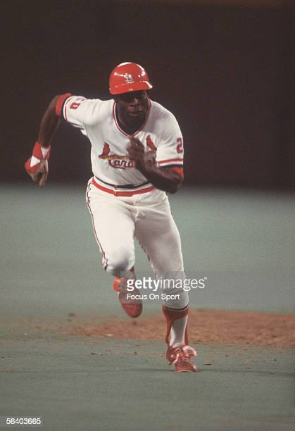 Lou Brock of the St Louis Cardinals runs the bases during a game at Busch Stadium circa the 1970's in St Louis Missouri