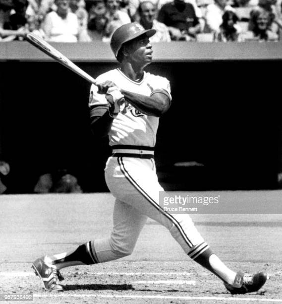 Lou Brock of the St Louis Cardinals swings at the pitch during an MLB game against the Chicago Cubs on August 12 1979 at Busch Stadium in St Louis...