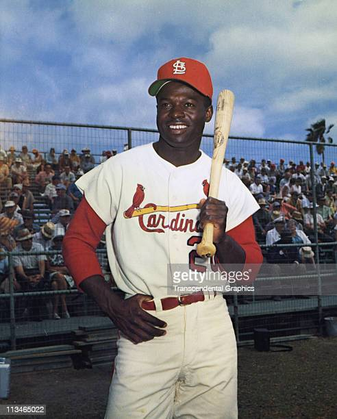 Lou Brock poses for photograph at the St Louis Cardinals spring training camp in March 1965 in St Petersburg Florida