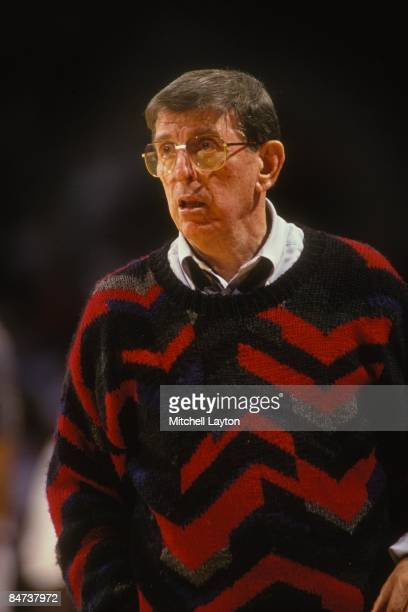 Lou Carnesecca head caoch of the St John's Redmen during asemifinal Big East Conferance Touranment college basketball game against the Georgetown...
